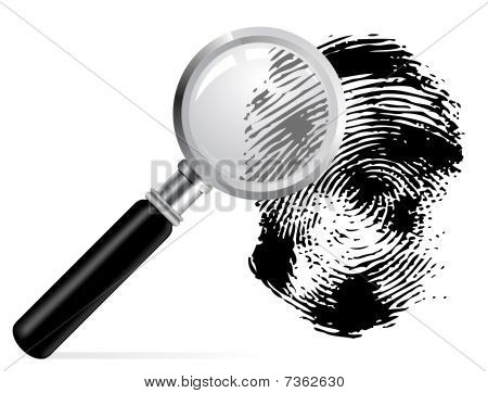 Magnifier with scaned fingerprint