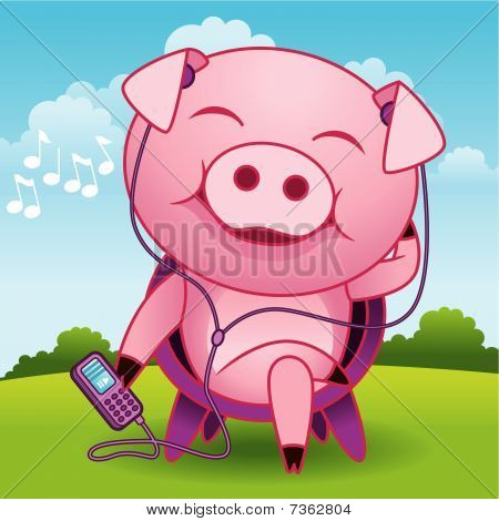 Music Pig Cartoon