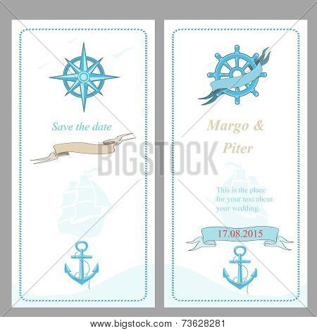 Wedding invitation template, nautical style,