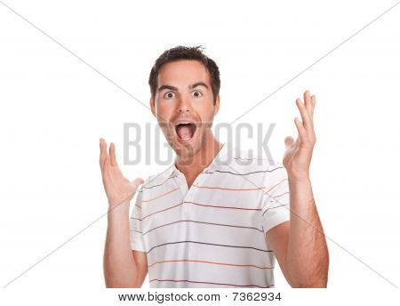 Portrait Of Young Surprised Man Gesturing.