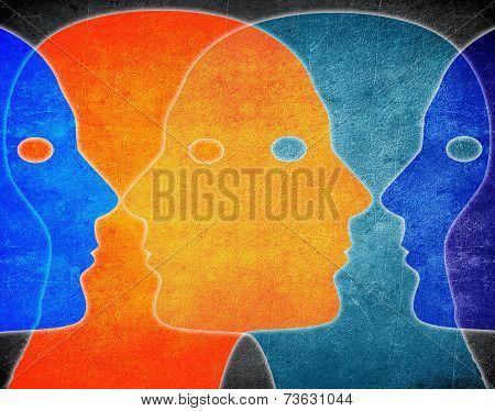 Four Heads Colors Digital Illustration