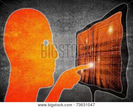 Man Touching Touchscreen Orange On Black Digital Illustration