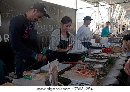 Food Stall In Street Food Festival In Kyiv, Ukraine.