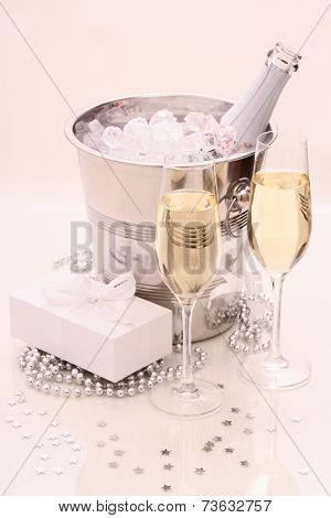 Two Champagne Glasses, Gift, Ice, Cooler