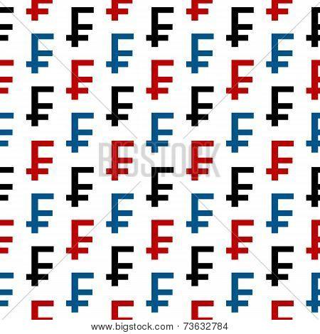 Swiss Franc Symbol Seamless Pattern