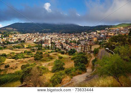Aerial panorama view of Orgosolo, Sardinia, Italy
