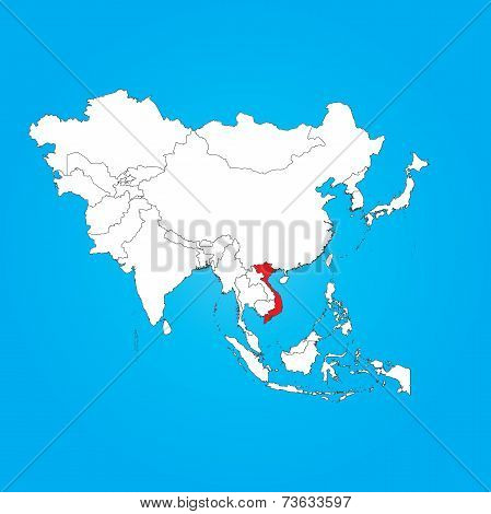 Map Of Asia With A Selected Country Of Vietnam
