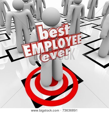Best Employee Ever words in red 3d letters on a person, worker or colleague on an org chart for a company or business evaluating its personnel