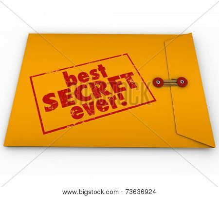 Best Secret Ever words stamped on a yellow envelope as great confidential information or rumors