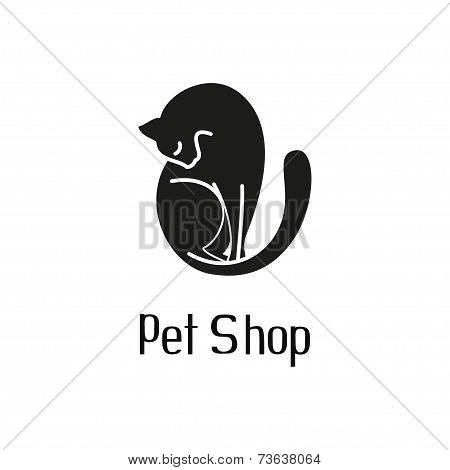 Cute pet shop logo with cat