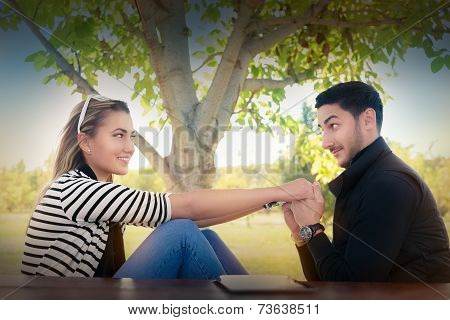 Young couple in love looking in each other's eyes