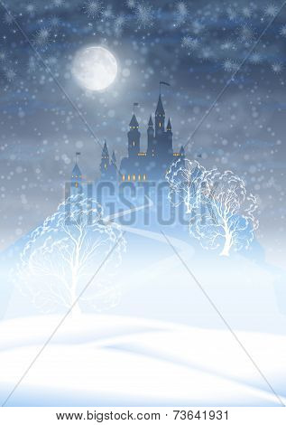 Christmas Winter Castle Moonlight Sky
