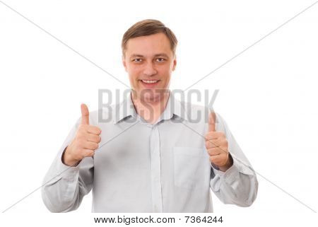 Excited Mature Man Enjoying Success Against White Background