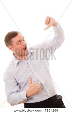 Excited  Man Enjoying Success Against White