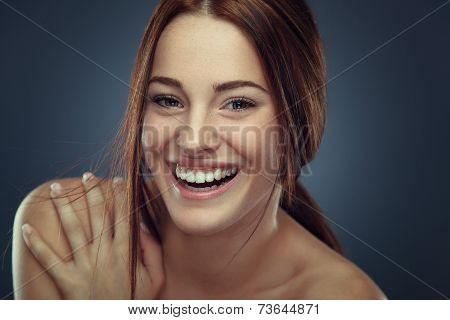 Cheerful Young Woman Beauty Portrait