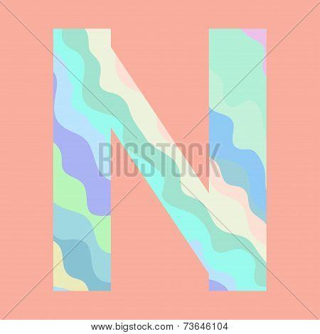 The letter N. Element of alphabet