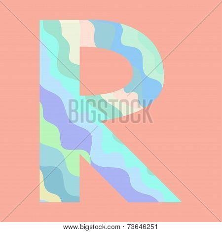 The letter R. Element of alphabet