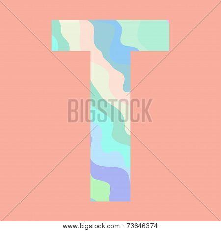 The letter T. Element of alphabet