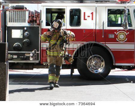 Fireman Rushing To Respond To Call