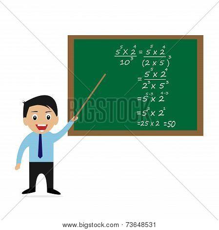 Teacher teaches mathematics
