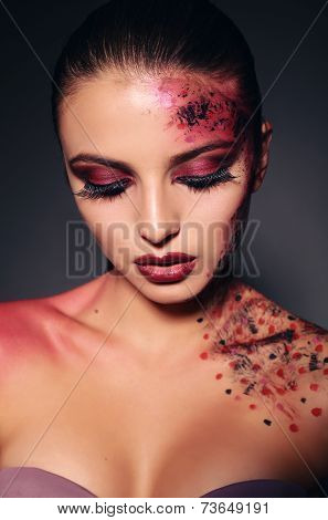 Beautiful Girl With Fantastic Make Up For Halloween