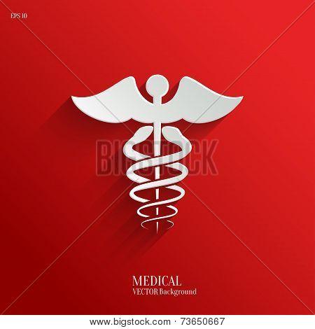 Caduceus Medical Symbol- vector white app icon