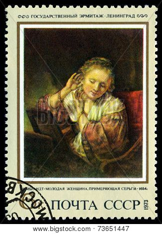 Vintage  Postage Stamp.   Woman Truing On Earrings, By Rembrandt