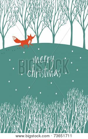 Merry Christmas Design Card With Red Fox In A Winter Forest