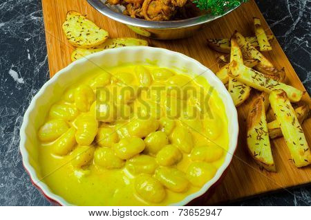 Curry Gnocchi With Bhajjis And Roasted Potato