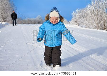 Family, Father And Happy Small Child The Boy On Walk In The Winter