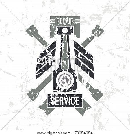 Car Service Piston Emblem