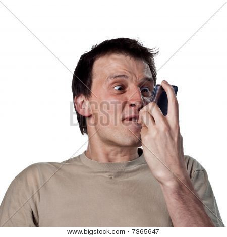 Man Screams At Phone
