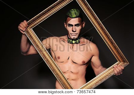 Sexy Man With Painted Face For Halloween Party