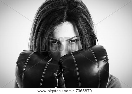 Closeup Portrait Of A Determined Female Boxer