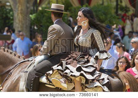 Couple On Horseback At The Fair