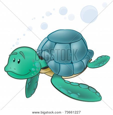 Cute Sea Turtle Character.