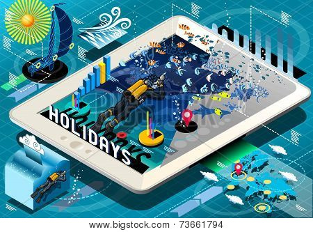 Isometric Diving Holidays Infographic On Tablet