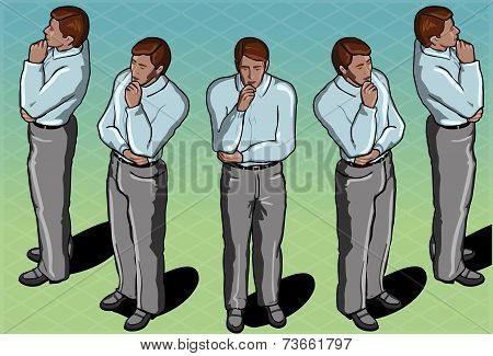 Isometric Thoughtful Standing Man