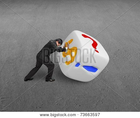 Man Rolling White Dice
