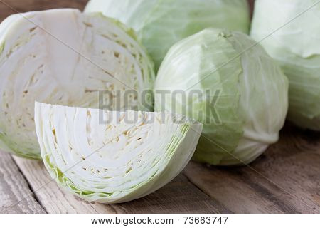 Cabbage On Wooden Background