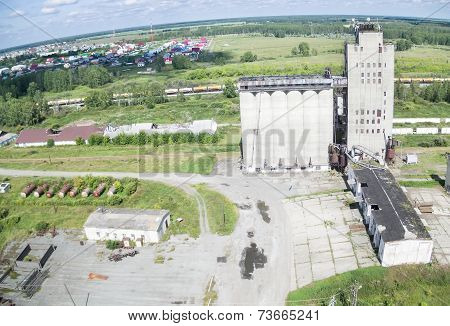 Bird's eye view on grain elevator