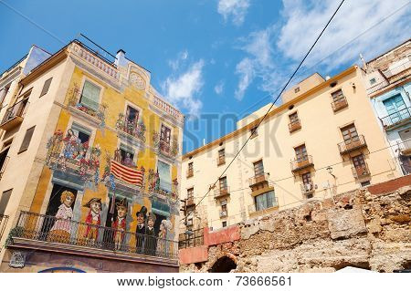 Colorful House Facade With Painting, Tarragona, Spain