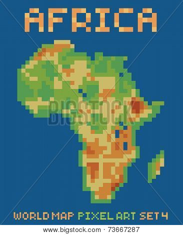 pixel art style illustration of africa physical world map