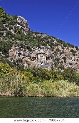 Ancient rock tombs in Dalyan, Turkey.