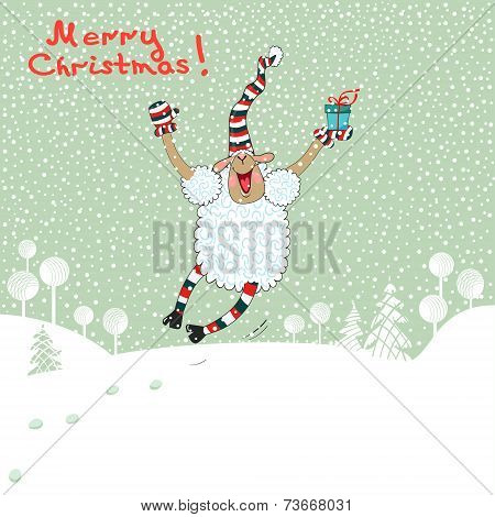 Merry card with sheep