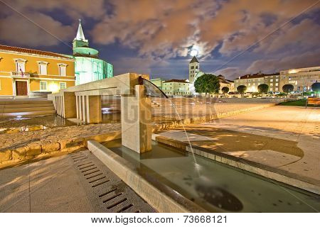 Old Zadar Forum Fountain Night View
