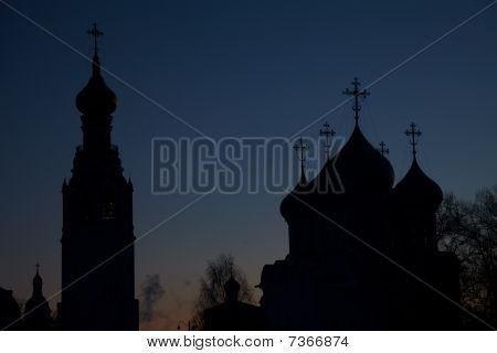 Vologda Kremlin Silhouette At Night, Russia