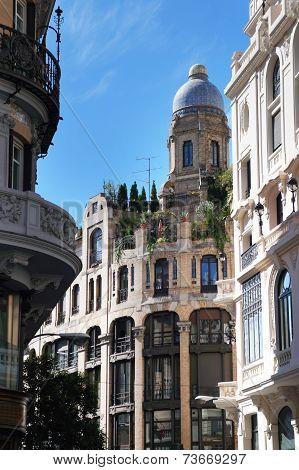 Madrid Gran Via street details, Spain