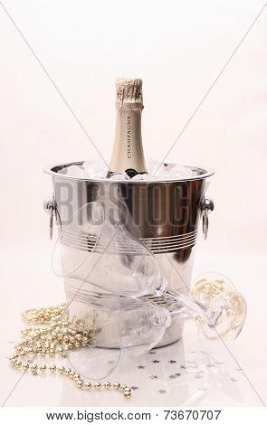 Champagne Bottle In Cooler And Two Champagne Glasses, Deco