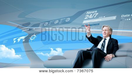 Senior Businessman Navigating News Interface In Future